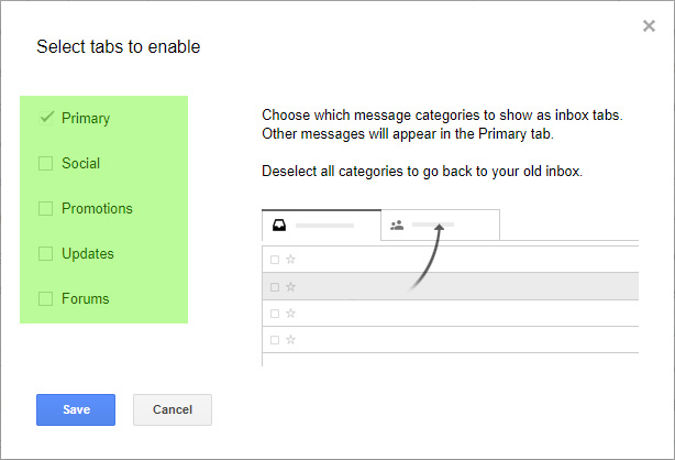 Select Gmail tabs you want