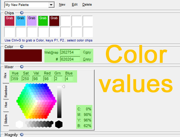 Read the color values