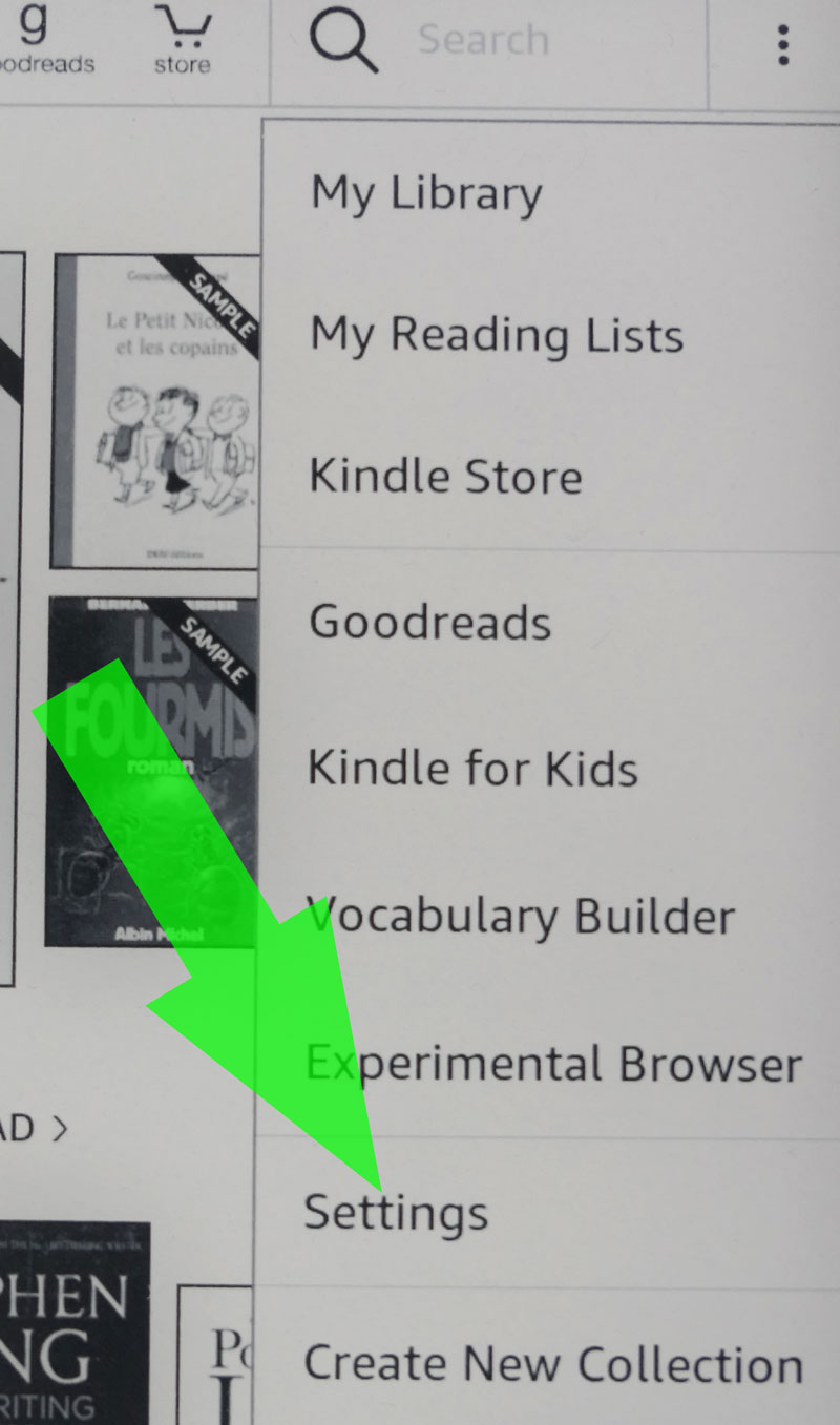 Amazon Kindle settings