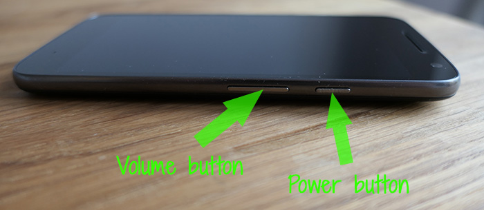 Motorola Volume and Power buttons