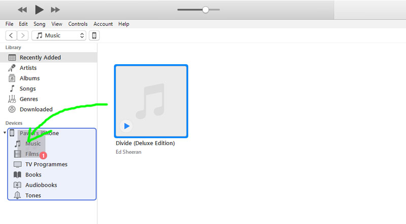 Drag and drop mp3 file(s) from library to Music folder in iPhone
