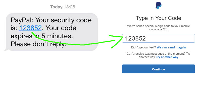 Copy the security key from text message on your phone and log on