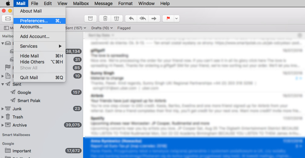 Mail Preferences on MacBook